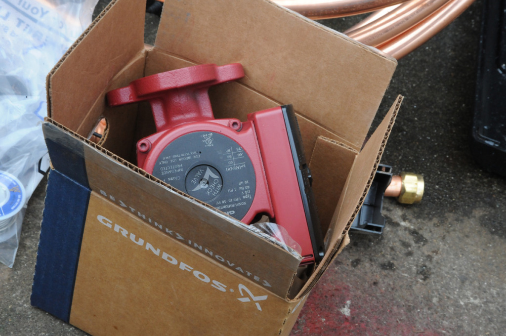 """The """"heart"""" of the system--a well built hot water circulation pump"""
